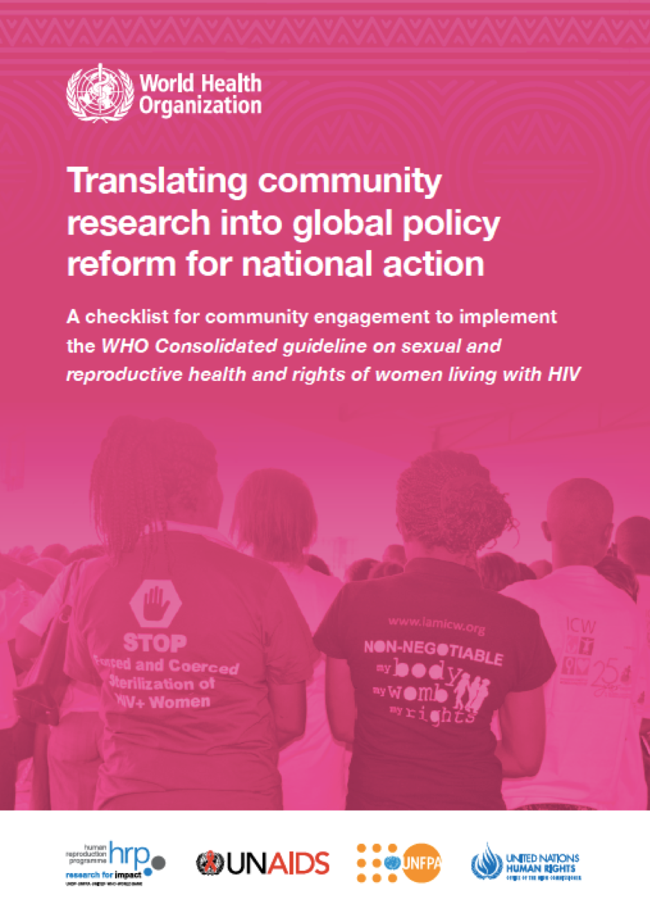 Our checklist for WHO Guideline now out as official UN document